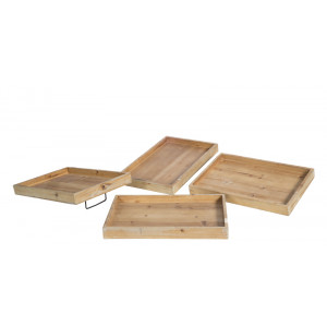Set of 4 Wooden Trays