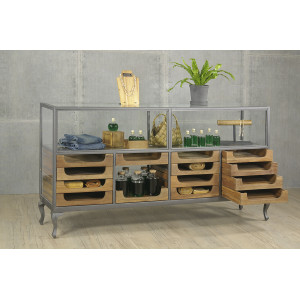 Large Glass Showcase with Drawers